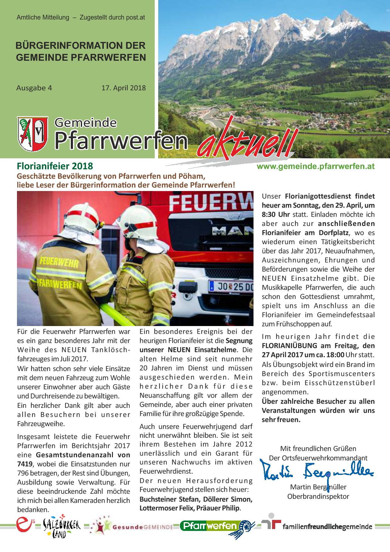 Bürgerinformation Ausgabe 042018 Gemeinde Pfarrwerfen