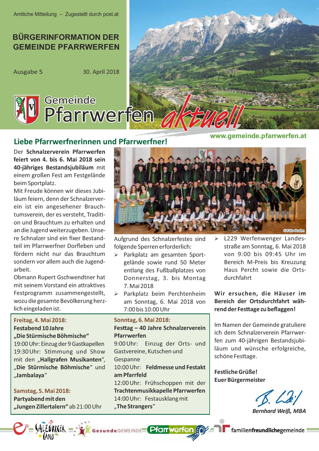 Bürgerinformation Ausgabe 052018 Gemeinde Pfarrwerfen