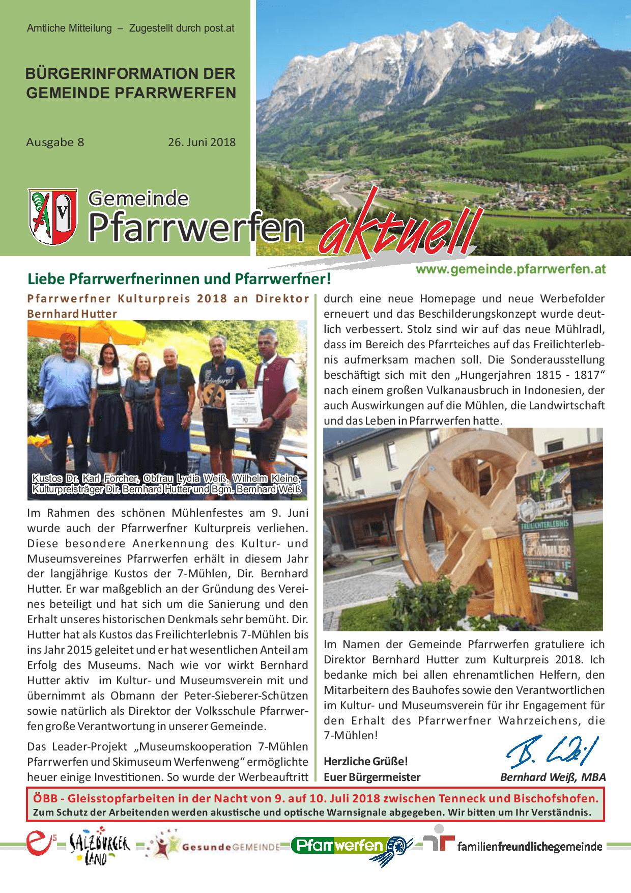 Bürgerinformation Ausgabe 082018 Gemeinde Pfarrwerfen