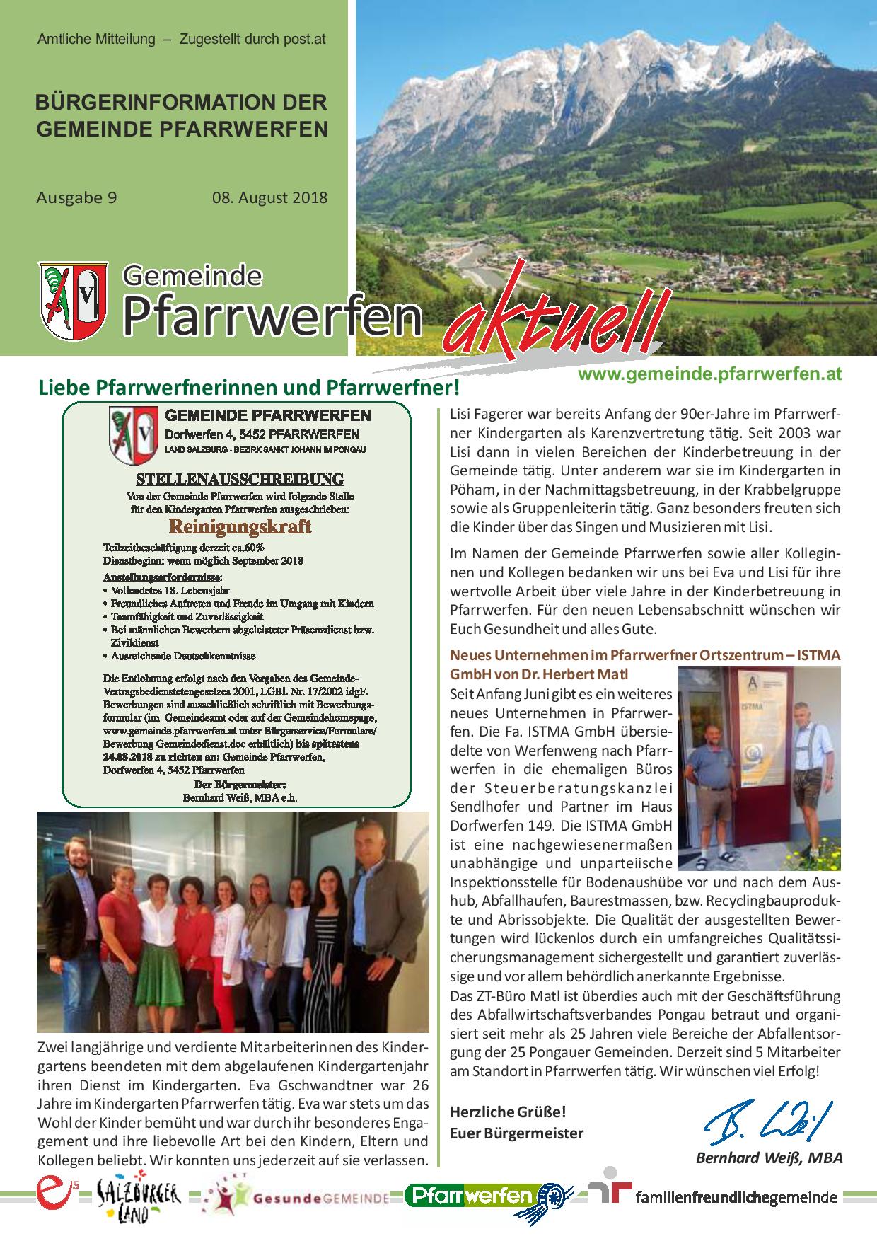 Bürgerinformation Ausgabe 092018 Gemeinde Pfarrwerfen