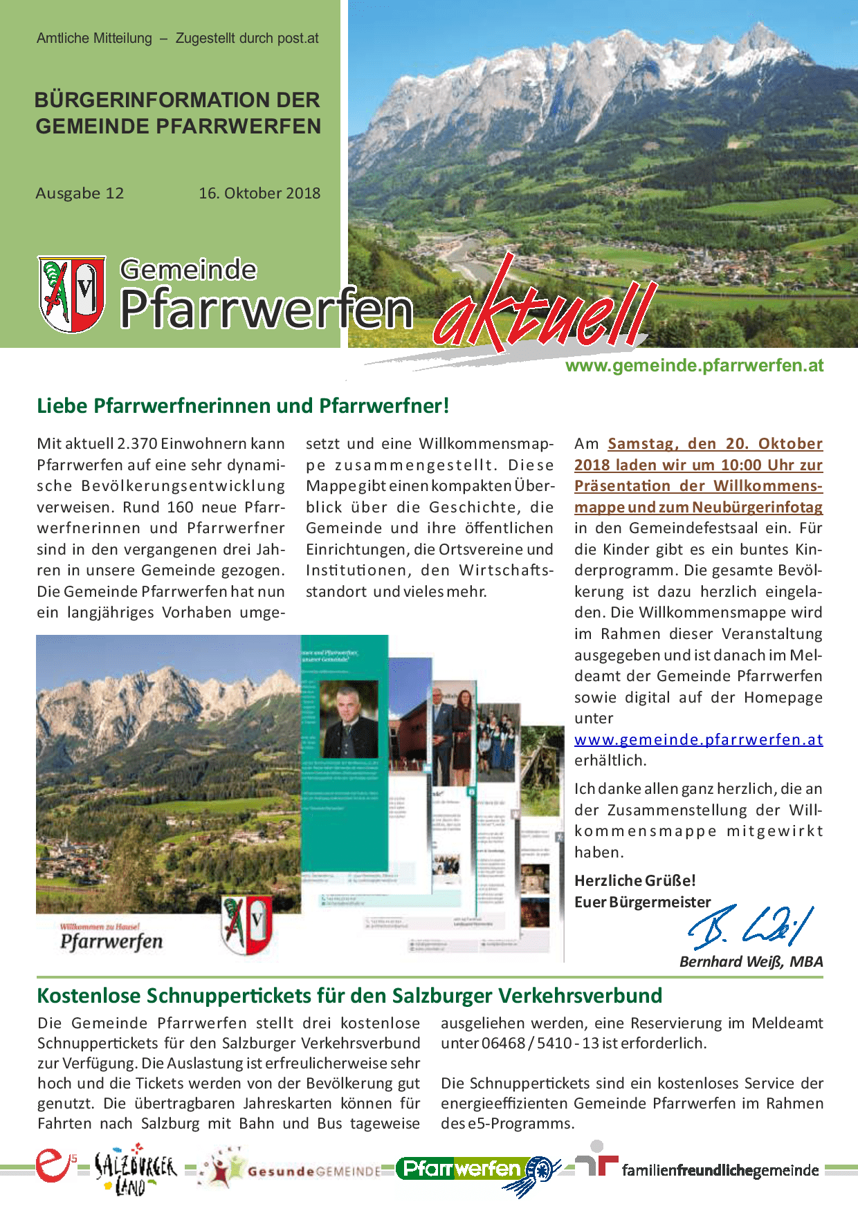 Bürgerinformation Ausgabe 122018 Gemeinde Pfarrwerfen