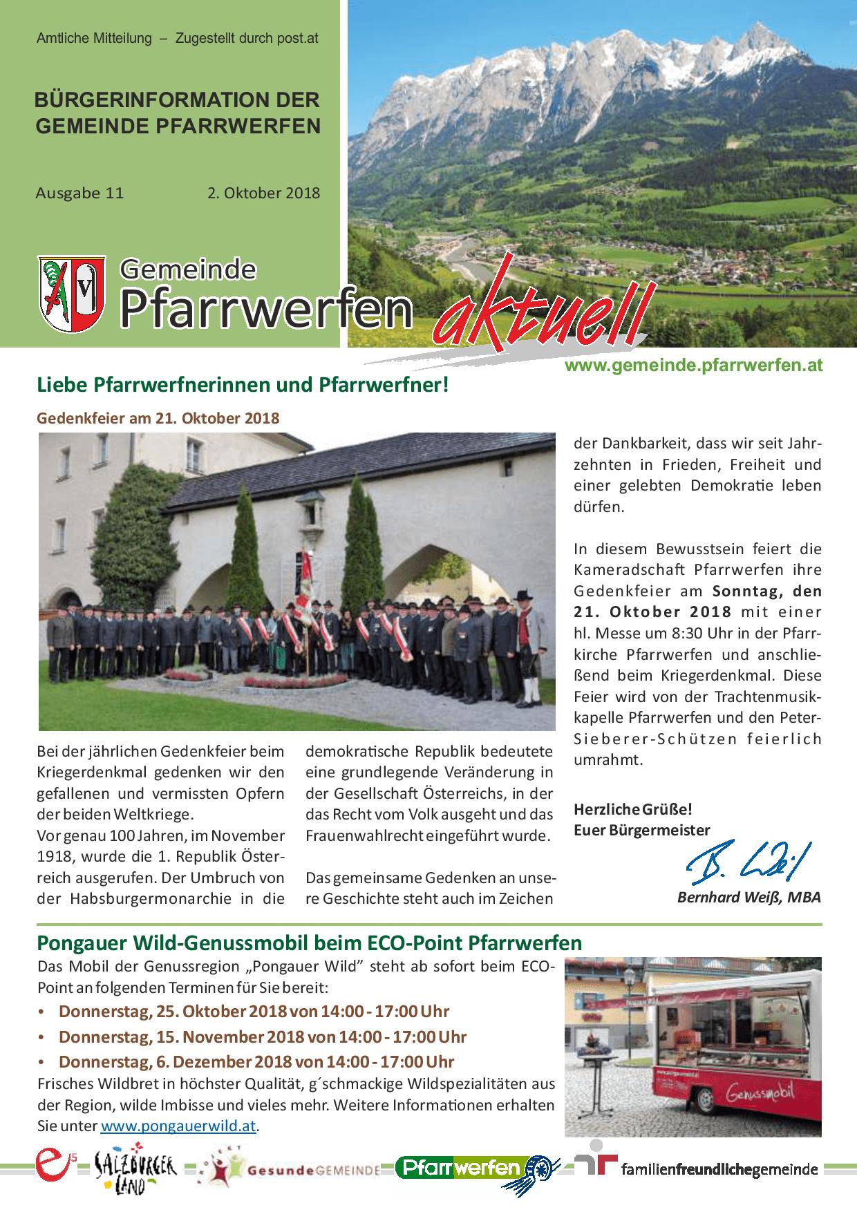 Bürgerinformation Ausgabe 112018 Gemeinde Pfarrwerfen