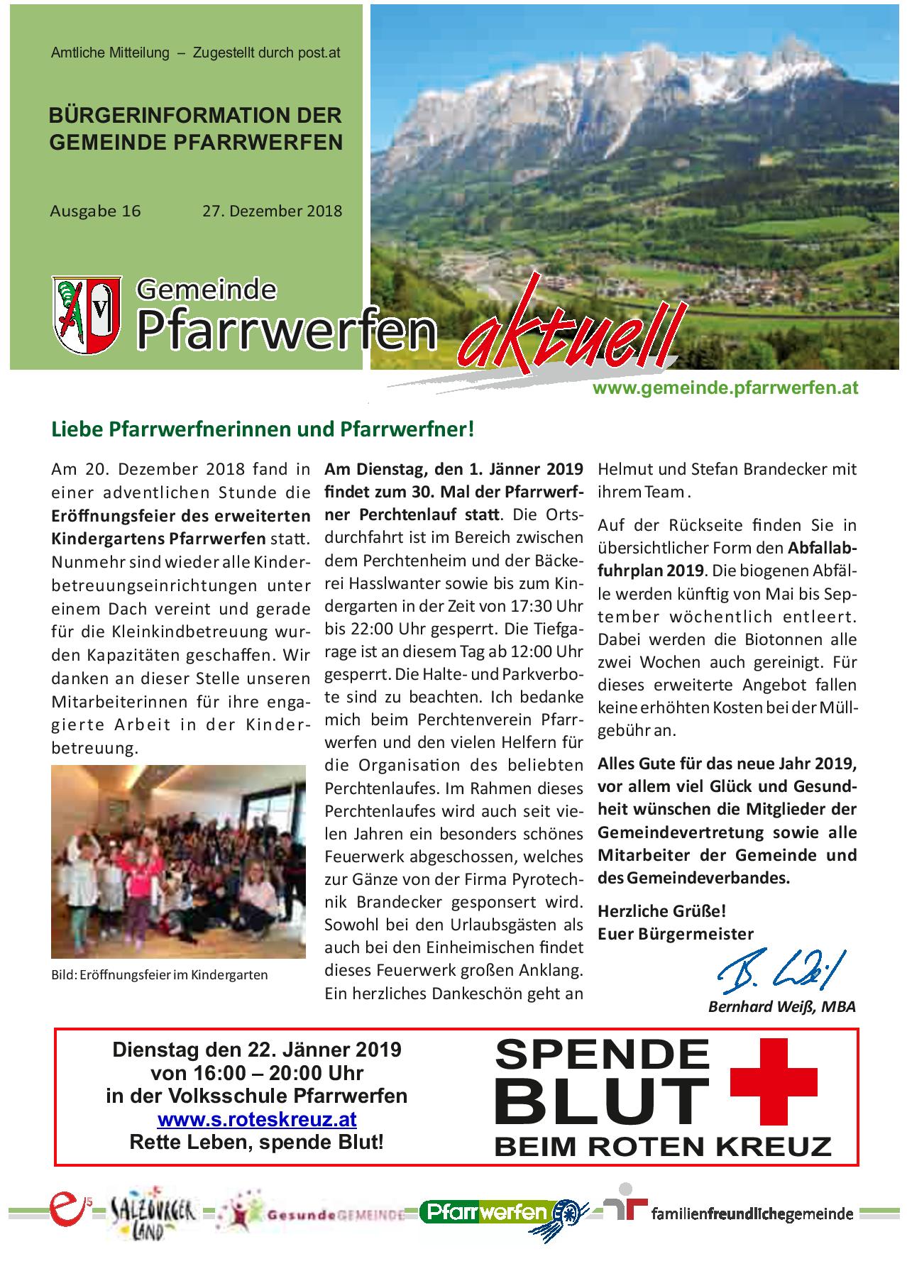 Bürgerinformation Ausgabe 162018 Gemeinde Pfarrwerfen