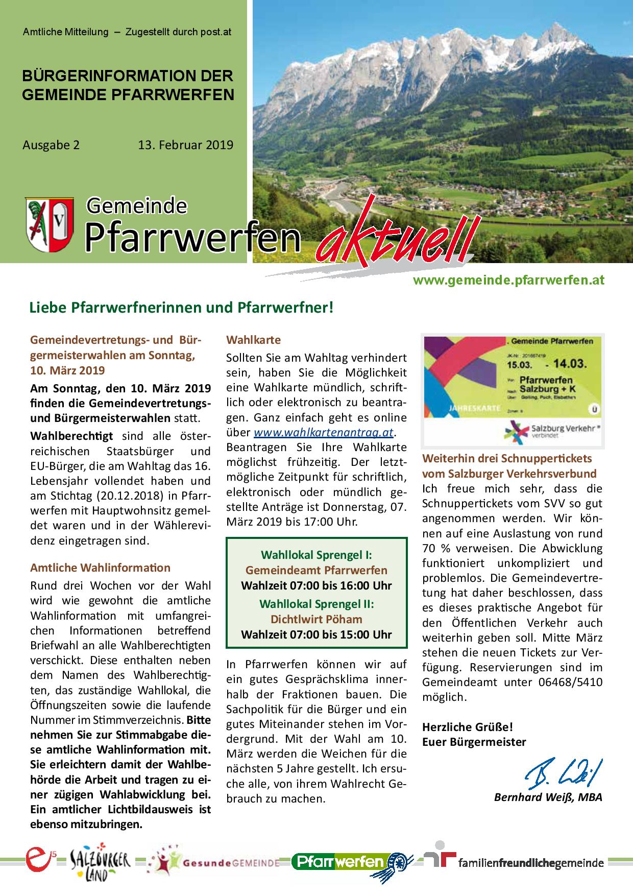 Bürgerinformation Ausgabe 022019 Gemeinde Pfarrwerfen