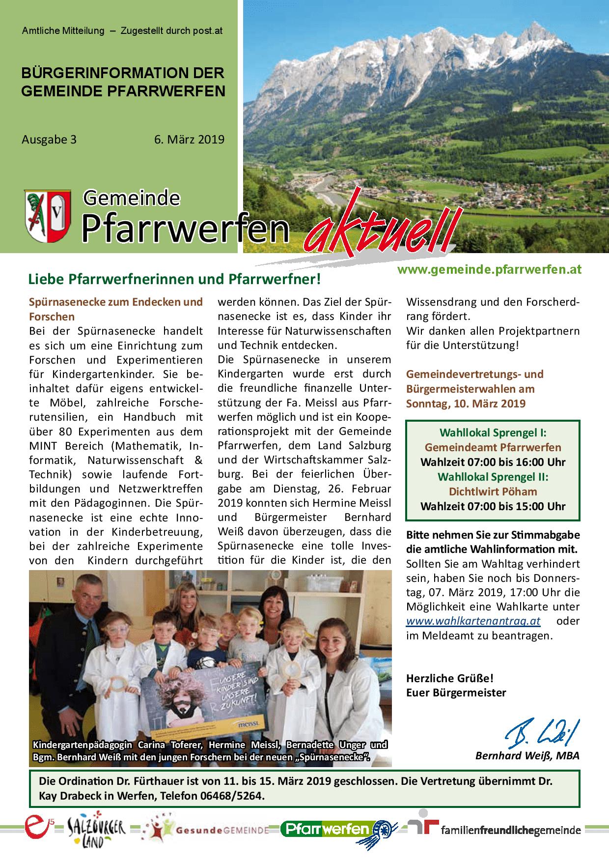 Bürgerinformation Ausgabe 032019 Gemeinde Pfarrwerfen
