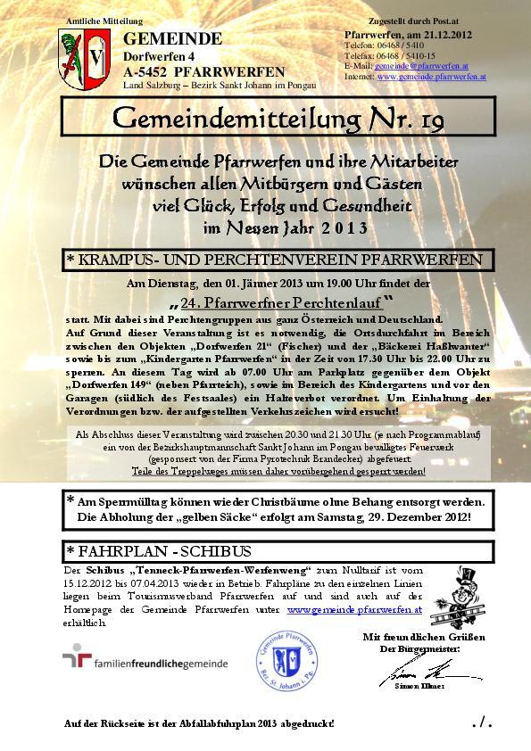 Gemeindemitteilung Nr 19 Gemeinde Pfarrwerfen Startseite
