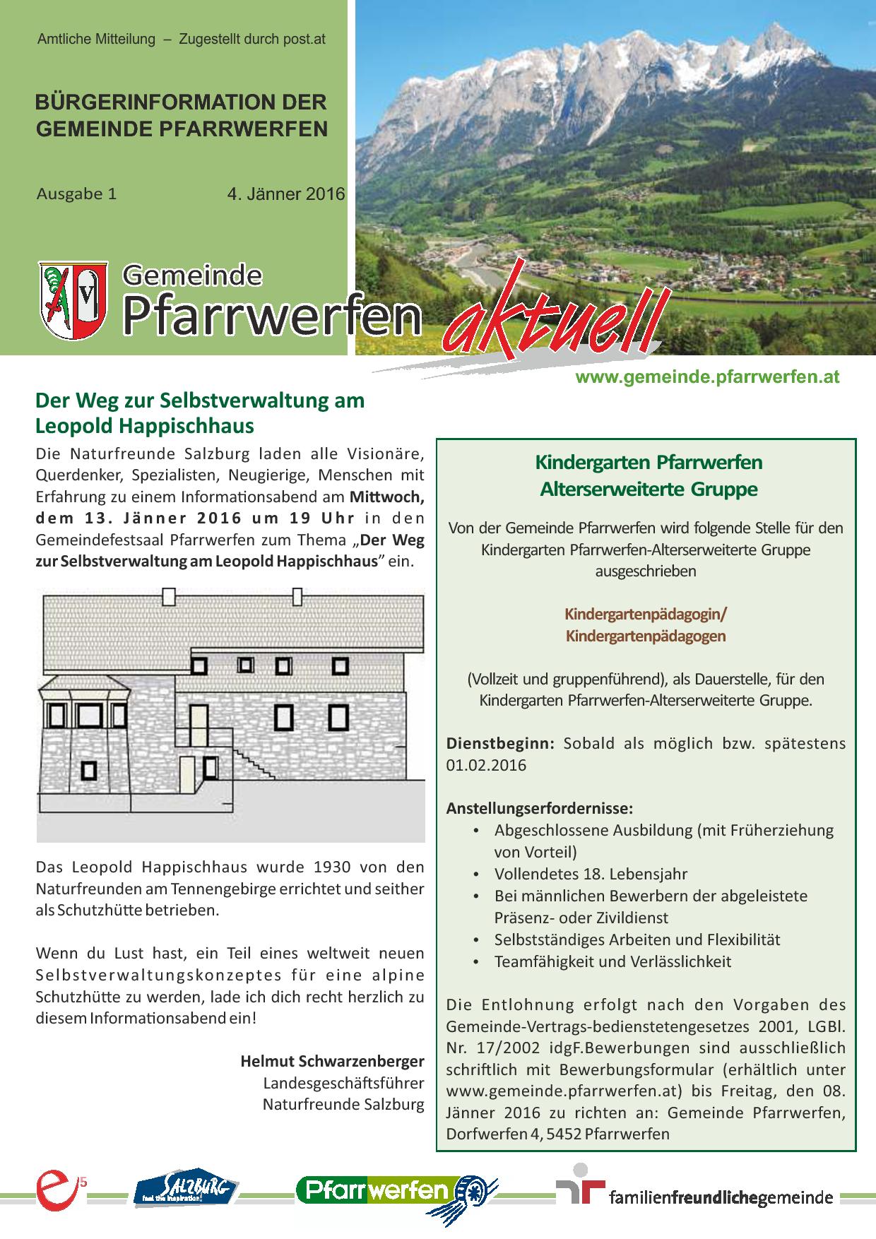 Bürgerinformation Ausgabe 12016 Gemeinde Pfarrwerfen
